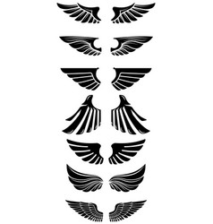 set of wings icons design elements for logo label vector image