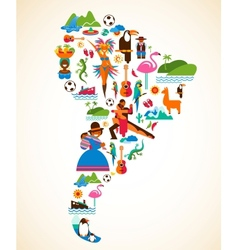 South America love - concept with icons vector image vector image