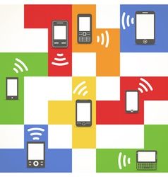 Abstract style modern and vintage mobile gadgets vector image vector image