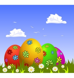Colorful easter eggs on grass vector