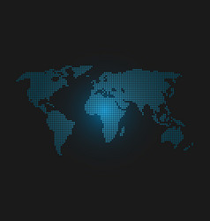 dotted world map blue led light futuristic design vector image