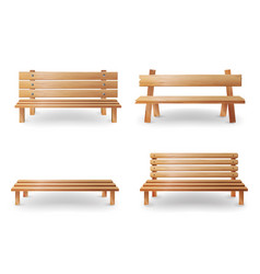 Wooden bench realistic smooth vector