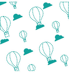 Dotted shape air balloon fly background design vector