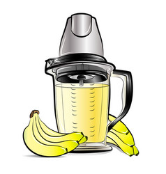 drawing color kitchen blender with bananas juice vector image vector image