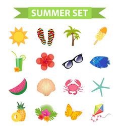 hello summer icon set flat cartoon style beach vector image