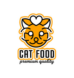 logo on the theme of food for cats the head of vector image vector image
