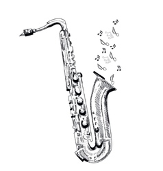 musical instrument saxophone on white background vector image vector image