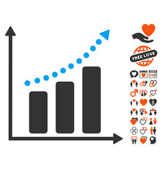 positive trend icon with love bonus vector image vector image