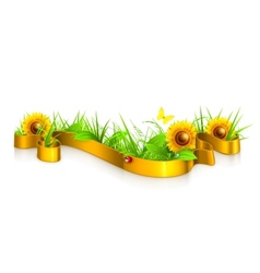 Ribbon in the grass vector image vector image
