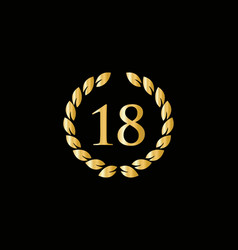 18th anniversary ring logo template years vector