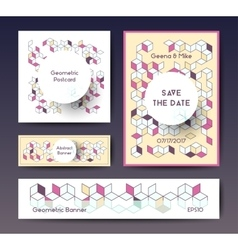Abstract geometric banner templates vector image