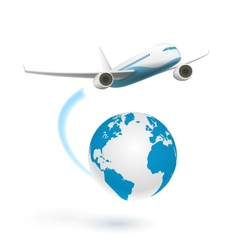 Airplane flying around globe vector