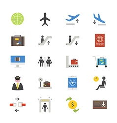 Airport Flat Icons color vector image vector image