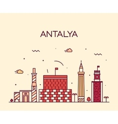 Antalya skyline linear style vector