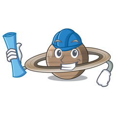 architect image of planet saturn in character vector image