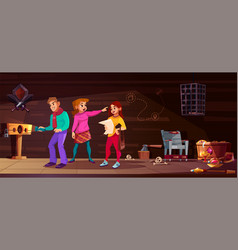background for quest with young people vector image