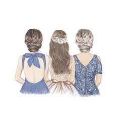 Bride with her sister and mom side side hand vector