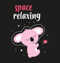 card with cute space koala vector image