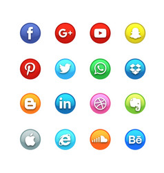 Circle glossy social icon set vector
