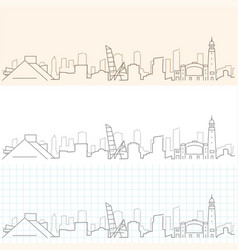 Cleveland hand drawn skyline vector