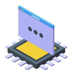 Code processor icon isometric computer vector