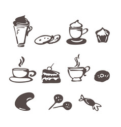 coffee icons in doodle style vector image