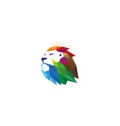 Colorful creative polygonal lion head logo vector