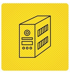 Computer server icon PC case or tower sign vector image