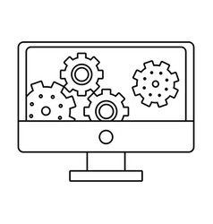 computer with gears on screen black and white vector image