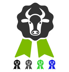 Cow award seal flat icon vector