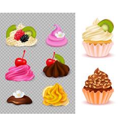 Cupcake constructor realistic set vector
