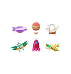 Cute cartoon aircrafts bright colors set blimp vector