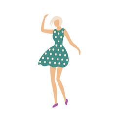 dancing woman in dress with polka dot print vector image