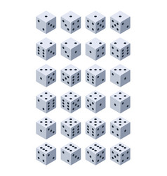 dice for play various isometric 3d pictures of vector image