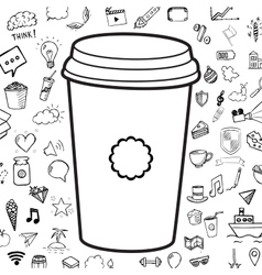 Doodle coffee cup with objects hand drawn vector