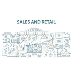 doodle style design concept retail commerce and vector image