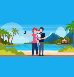 family on beach taking selfie photo on smartphone vector image