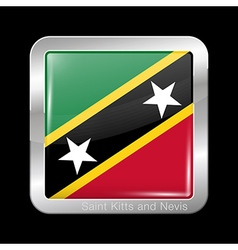 Flag of Saint Kitts and Nevis Metal Square Icon vector image