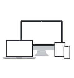 Flat desktop pc laptop tablet pc and smart phone vector