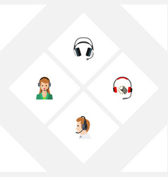 Flat hotline set of secretary headphone earphone vector