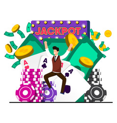 flat luck win casino jackpot vector image