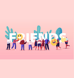 Friendship and friends concept tiny people group vector