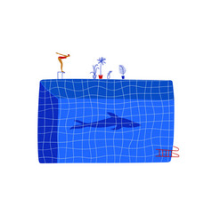 Funny cartoon woman swimmer and a shark shadow vector