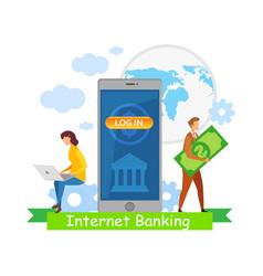 Global internet banking flat vector