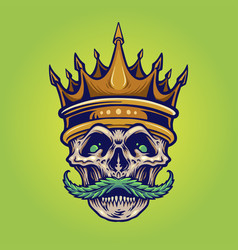 gold crown angry skull mustache with weed vector image