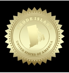 Gold star label Rhode Island vector image