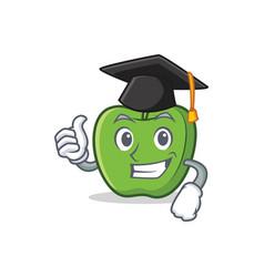 Graduation green apple character cartoon vector