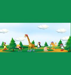 Group animal playing at park vector