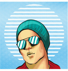 Guy young handsome fancy in hat and sunglasses vector