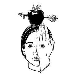 hand drawn apple with arrow on female head vector image